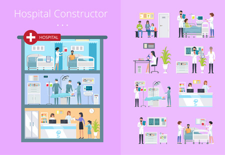 Hospital Constructor Icons Vector Illustration in purple background.