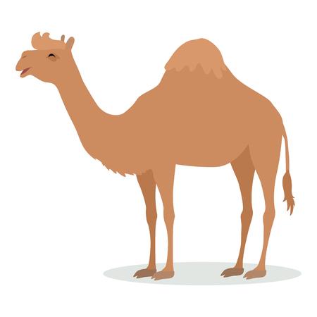 Dromedaris kameel Cartoon icoon in platte ontwerp Vector Illustratie