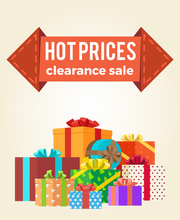 Hot Prices Discounts Clearance Sale Arrow Label Vector illustration.