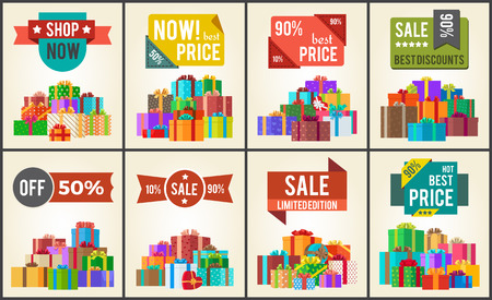 Best Prices Set of Promo Posters Advert Stickers Illustration