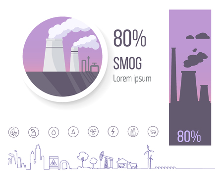 80% Smog Pollution Poster with Factory Illustration