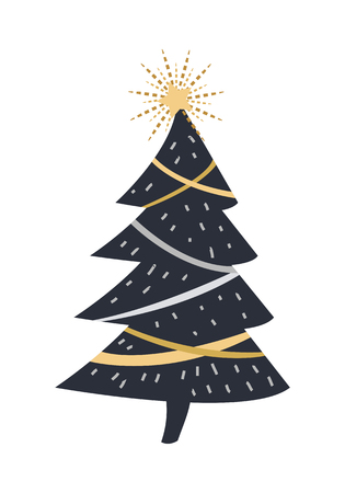 Black Christmas Cartoon Fir Tree Isolated on White background.
