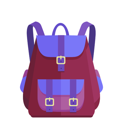 Rucksack in Purple and Blue Colors vector illustration 일러스트