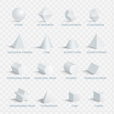 Geometric 3D Shapes with Names Vector Illustration.