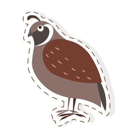 Cute Partridge Bird Cartoon Flat Vector Sticker. Vettoriali