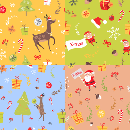 Set of Seamless Patterns with Christmas Elements