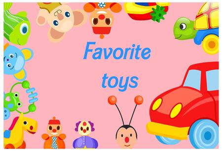 Favorite Toys Collection around Pink Background Foto de archivo - 100477405
