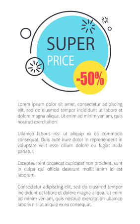 Super Price with 50 Reduction Promotional Banner Stockfoto - 100477408