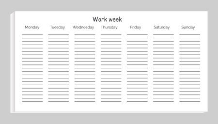 Work Week with Days and Lines Vector Illustration