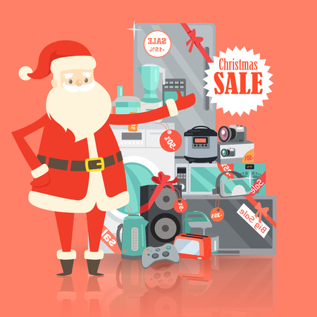 Christmas Big Sale from Santa Claus in Storehouse Illustration