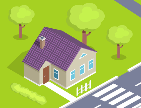 Modern House with Door on Left Side near Road Illustration