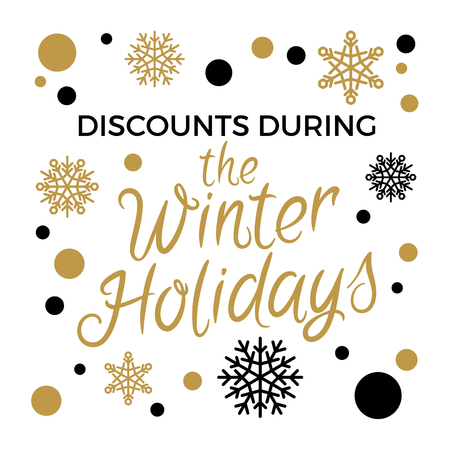 Discounts during winter holidays concept with snowflakes in black and gold colors with elegant lettering on white. Christmas and New Year sales logo with gilded elements for seasonal promotions
