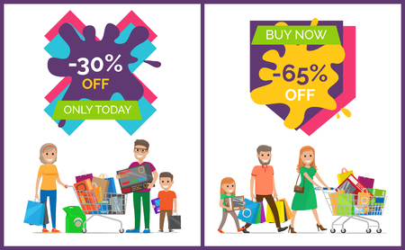 30% Off Only Today Banners Vector Illustration
