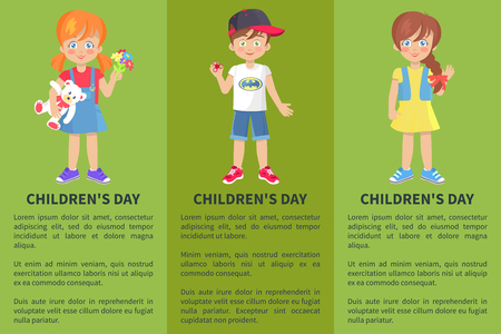 Childrens Day Web Banner with Playful Boy and Girl Foto de archivo - 100484179