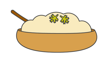 Mashed Potatoes with Herbs in Bowl Vector Icon