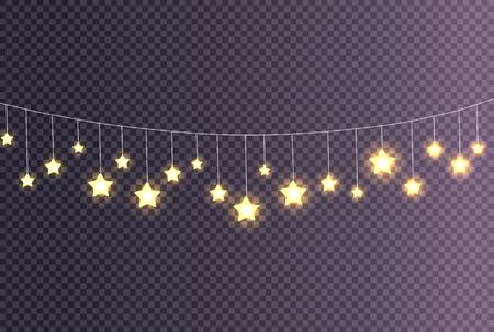 Garland Made of Shining Big Small Glittering Stars