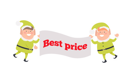 Poster Best Price Held by Elf on White Background  イラスト・ベクター素材