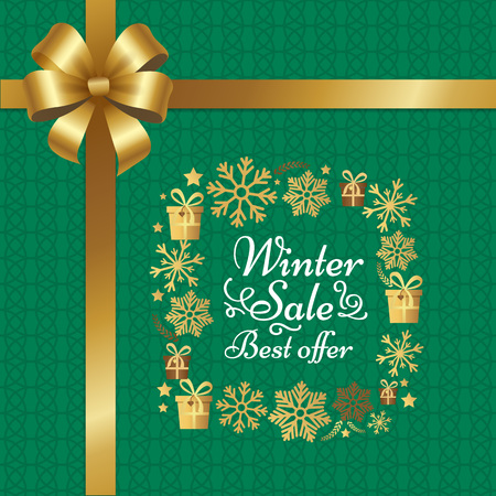 Winter Sale Best Offer Poster with Gift Bow Vector