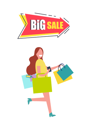 Big Sale Arrow Pointer with Woman Carrying Bags Illustration