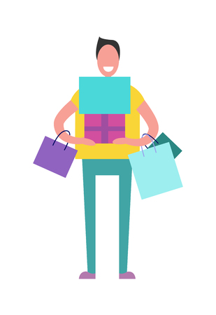 Shopping Man with Presents Vector Illustration Иллюстрация