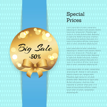 Special Price Poster with Sale 50 Off Golden label
