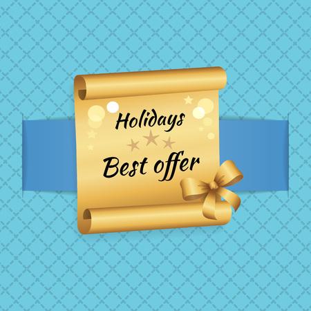 Holidays Best Offer Inscription Golde Paper Scroll