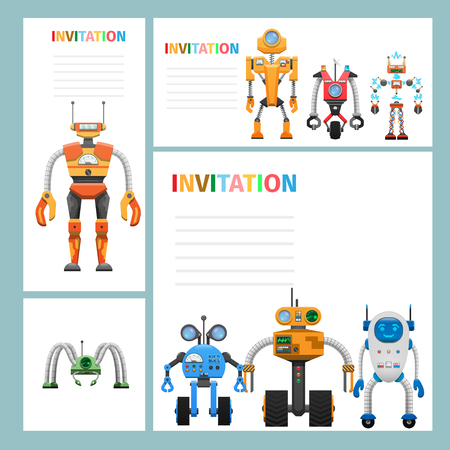 Cartoon Card Invitation with Metal Aliens Icons
