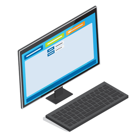 Online Authorization Page on PC Screen Vector Illustration