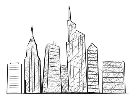 Night City Light Sketch Icon Vector illustration