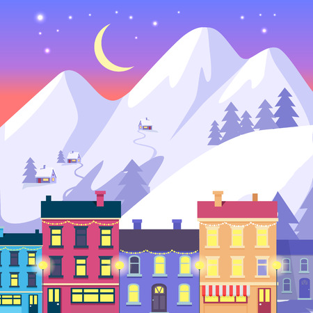 Christmas Small Town on High Mountains Background