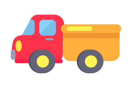 Vector Template of Plastic Toy Truck On White