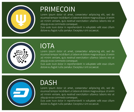 Yellow prime coin, white iota and blue dash symbols inside circles with sample text as descriptions on Internet page template vector illustration.