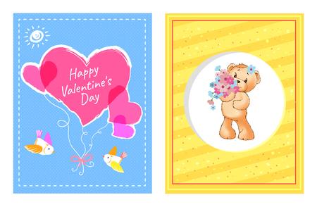 I Love You and Me Teddy Bears Vector Stock Vector - 100740487