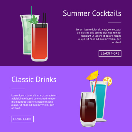 Classic Drinks Summer Cocktails Colorful Posters Illustration