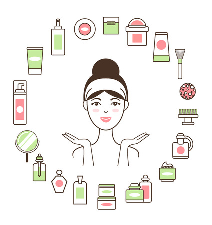 Woman in Headband inside Circle of Cosmetic Means
