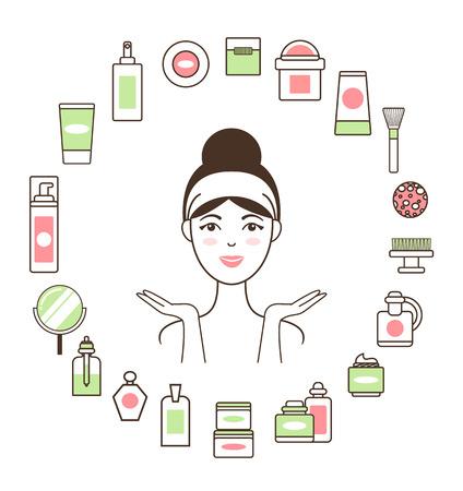Woman in Headband inside Circle of Cosmetic Means Foto de archivo - 100740497