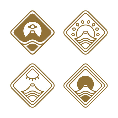 Japanese Icons Set Nature Vector Illustration