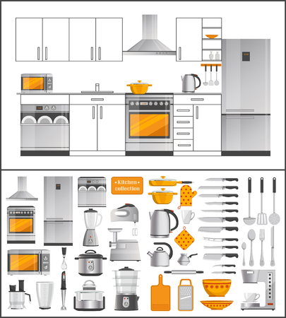 Kitchen Collection of Appliances and Kitchenware