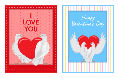 White Doves Couples with Heart Illustrations Set Ilustração