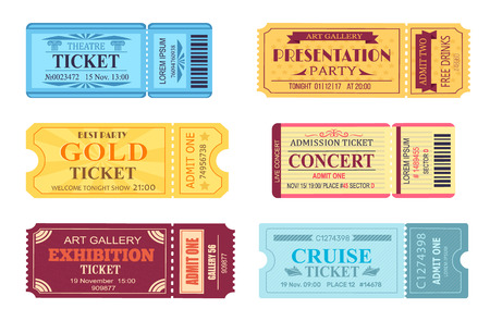 Best Party Gold Ticket Set Vector Illustration