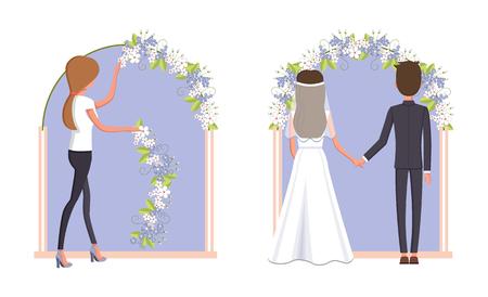 Woman Decorating Wedding Arc Vector Illustration
