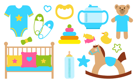 Objects and Items for Kids Poster Vector Illustration
