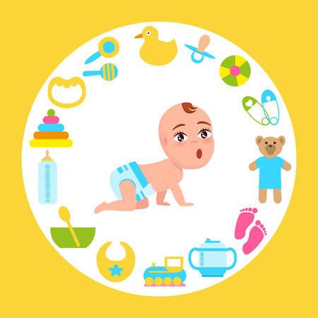 Toddler in Diaper Crawling with toys and other elements
