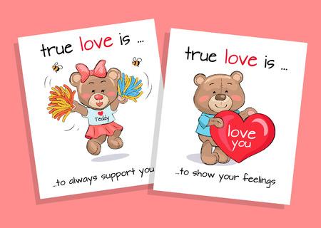 Happy Valentines Teddy Bear Card Designs Illustration