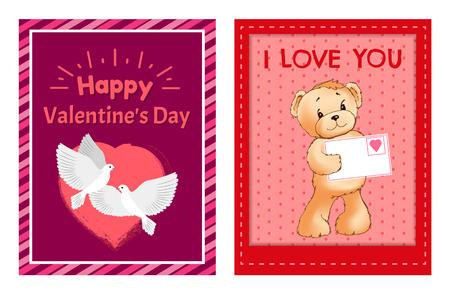 I Love You Teddy Bear Card designs Stock Vector - 100985494