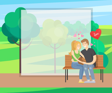 Merry couple sits on bench tenderly holding hands, heart shape balloon near them vector in green park near trees, rural landscape, frame for text