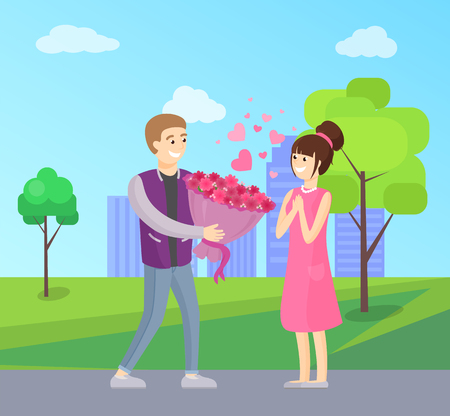 Man presenting luxury bouquet of flowers to woman, vector illustration of dating couple in love vector isolated on background of skyscrapers in park