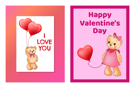 I love you and me teddy bears with heart sign vector illustration of stuffed toy animals, presents for Happy Valentines Day, cartoon posters 版權商用圖片 - 100934456