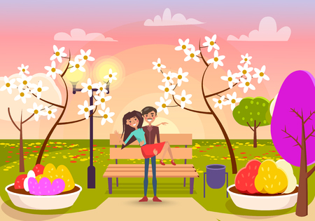 Man with mustache holds cheerful girl in his arms in garden with flowering trees, brown bench and color flower beds vector illustration