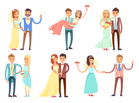 Happy newlywed couples composed of women in wedding gowns and veils who hold bouquets, and men in stylish suits cartoon vector illustrations set.